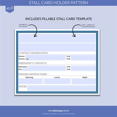 stall card template stall card holder pattern printable stall card the