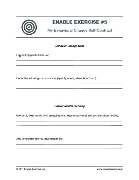 exercise contract template free coaching exercise my behavior change self contract