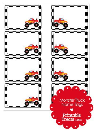 jam trucks names truck name tags from printabletreats com