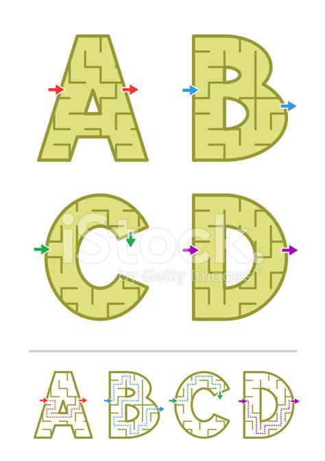 alphabet maze a b c d stock vector freeimages