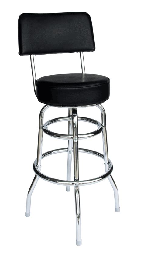 double ring chrome bar stool with back and choice of red