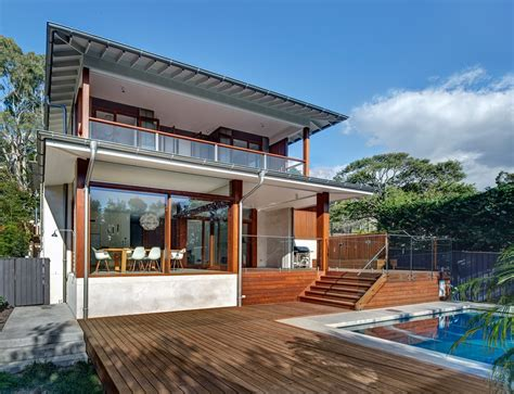 wooden terrace pool area contemporary home in sydney