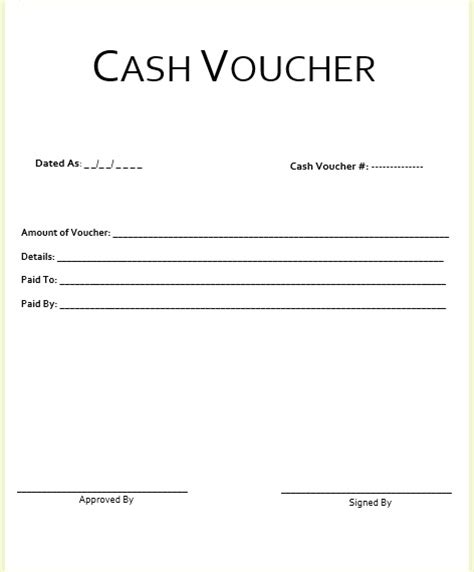 8 free sle cash voucher templates printable sles