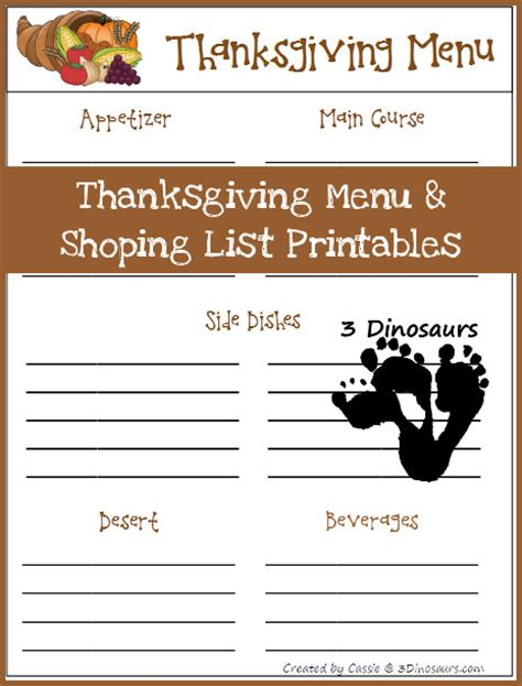 free printable grocery list for thanksgiving free thanksgiving menu and shopping list printable free