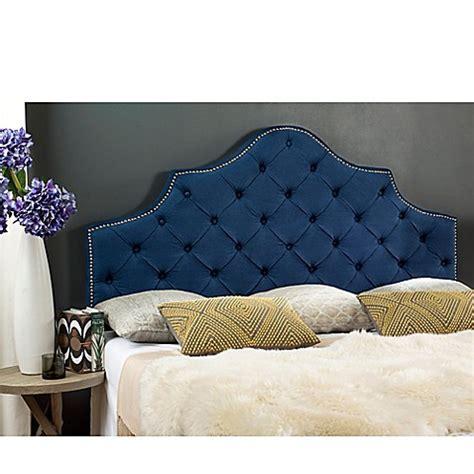 blue headboard queen buy safavieh arebelle tufted upholstered queen headboard