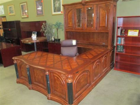 Used U Shaped Desk Hoppers Office Furniture Used Aico Executive U Shape Desk W Hutch