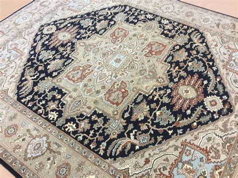 blue rugs 8x10 8 x 10 navy blue brown serapi area rug knotted medallion ebay
