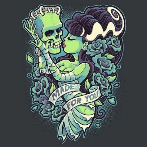 tattoo zombie cartoon green skin zombie girl kissing a frankenstein head tattoo