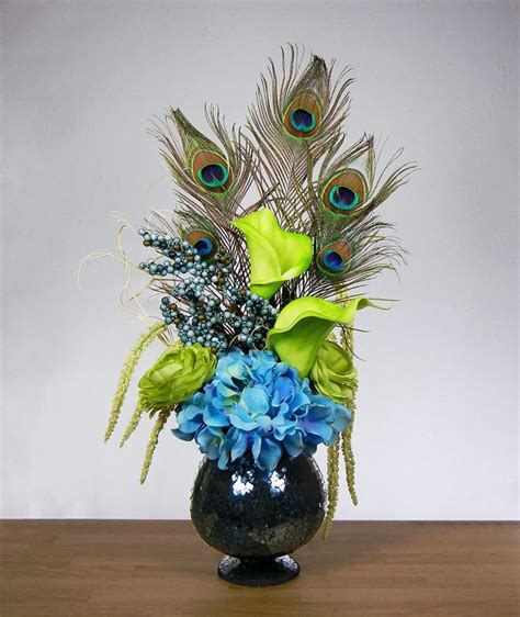 peacock decorations new blue and green peacock feather hydrangea rose lily