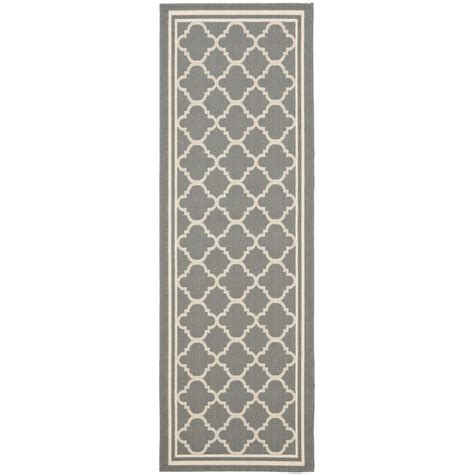 Safavieh Anthracite Gray Beige Indoor Outdoor Runner Rug Indoor Outdoor Rugs Runners