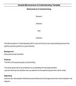 Template For A Memorandum Of Understanding by Memorandum Of Understanding Template 12 Free Word Pdf