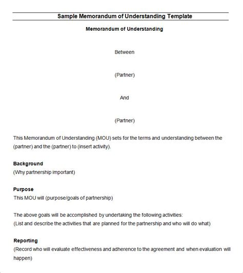 Memorandum Of Understanding South Africa Template memorandum of understanding template 14 free word pdf