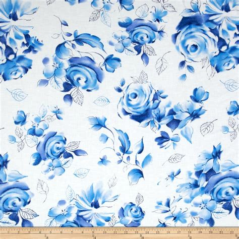 flower print fabric navy blue background blue white pink michael miller blue white large floral azure
