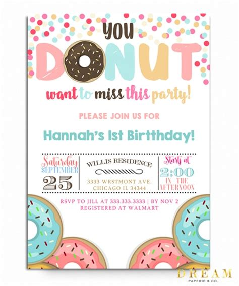 Donut Birthday Party Invitation Donuts Galore Invitation Donut Invitation Template