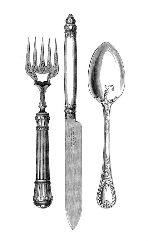 beautiful flatware vintage kitchen clip art fork knife spoon the
