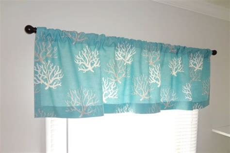 ocean curtains window curtain valance topper window treatment 52x15 ocean blue