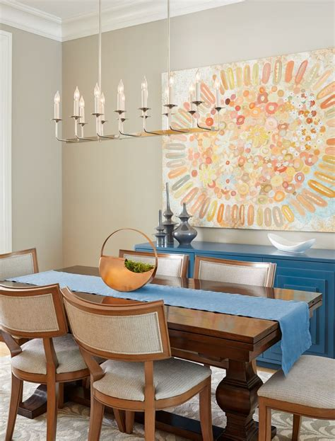 dining room  large scale art teal geometric sideboard