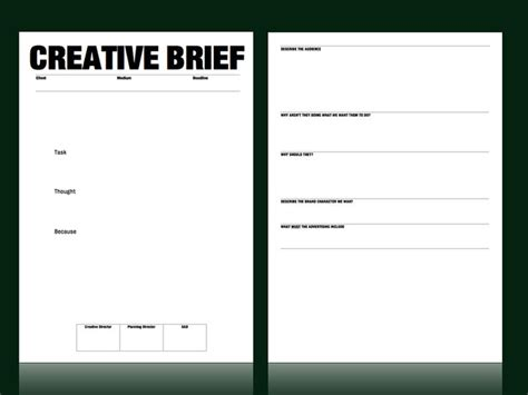 creative brief template creative brief template from m c saatchi account