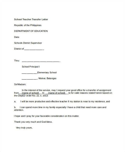 Letter To School Application Letter For School Application Letter For School Branch Transfer Sle