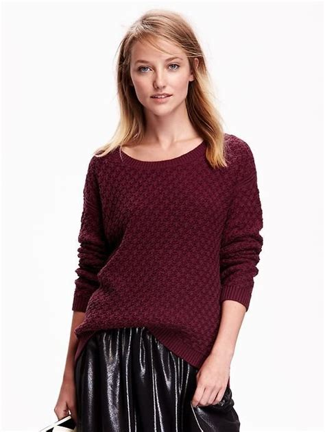 Hits Popcorn Sweater Navy navy womens popcorn stitch sweater in wine stain strut your stuff stains