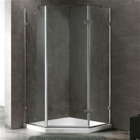 Neo Angle Shower Door Seal Vigo Verona 36 125 In X 76 75 In Frameless Neo Angle Shower Door In Brushed Nickel With Clear