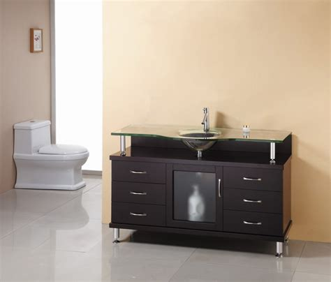 55 inch single sink bathroom vanity in espresso with glass