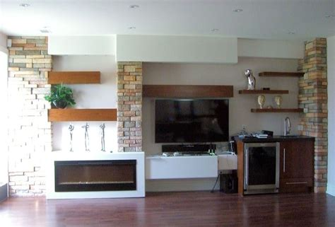extremely cool white floating fireplace cabinet  open