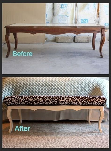 how to turn a coffee table into an ottoman coffee table turned into a bench furniture redo pinterest