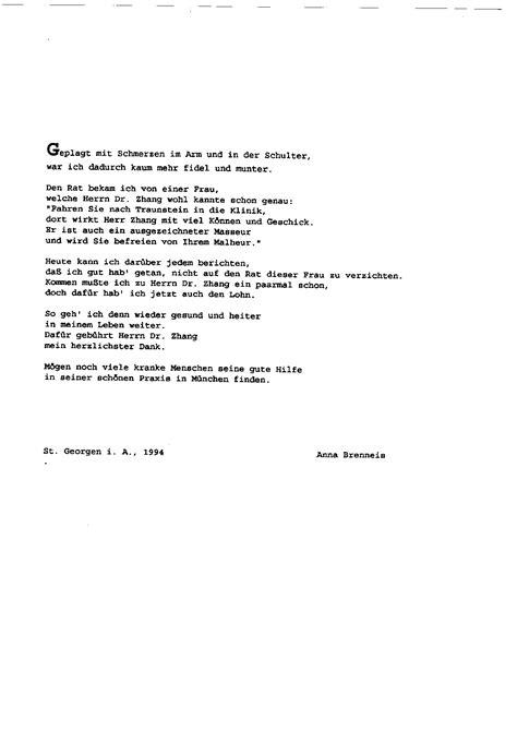 Deutsche Brief Beispiel Dankesbriefe Akupunktur Tcm Praxis Liang Zhang Seit 1994 In M 252 Nchen 中医骨科
