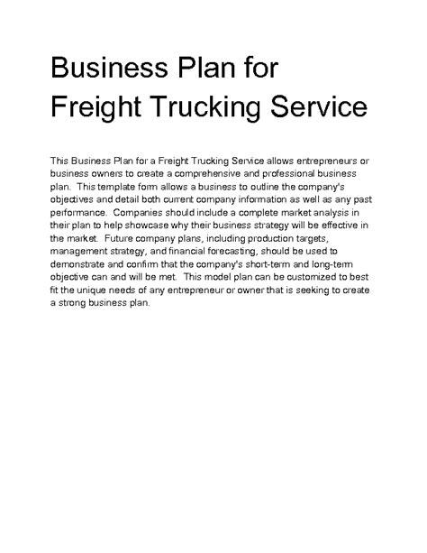 business plan template for trucking company welcome to docs 4 sale