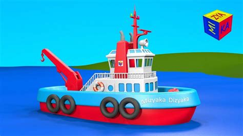 big boat cartoon boats and ships for children construction game tugboat