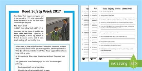 road safety week differentiated reading comprehension activity