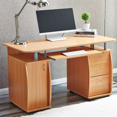 Laptop Desk With Drawers Raygar Deluxe Computer Desk With Cabinet And 3 Drawers White Www Raygardirect