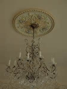 Chandelier Ceiling Medallion Painted Ceiling Medallion Chandeliers Lanterns Sconces Pinte