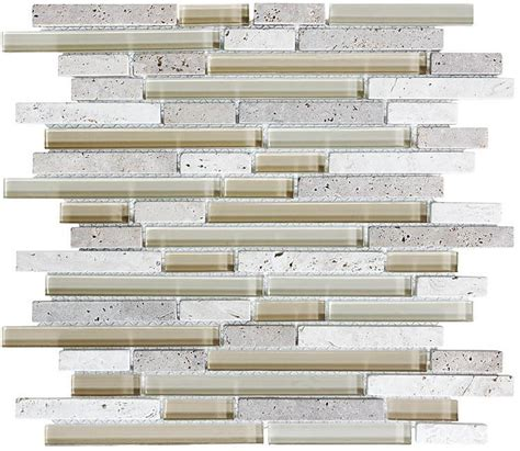 4x12 subway fliese bliss creme brulee and glass linear mosaic tiles