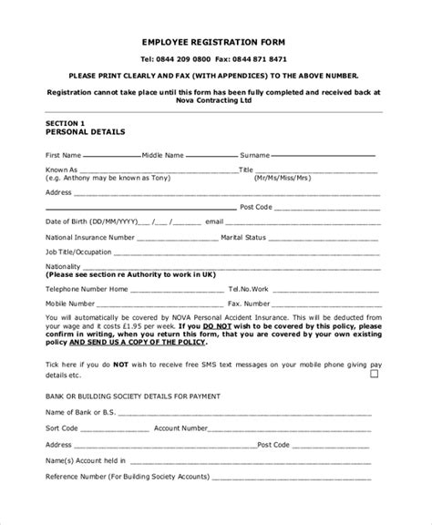 recruitment agency registration form template sle registration form 21 free documents in pdf