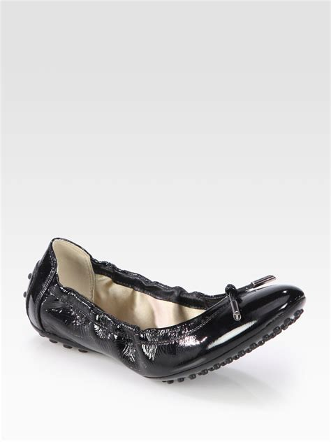 tods flat shoes tod s patent leather ballet flats in black lyst