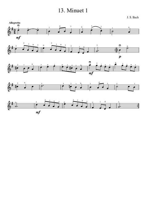 Minuet 1 Violin Suzuki Suzuki Violin Method V 1 13 Bach Minuet 1 Musescore