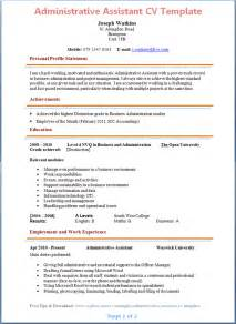 Cv Templates To Uk Administrative Assistant Cv Template Page 1 Preview