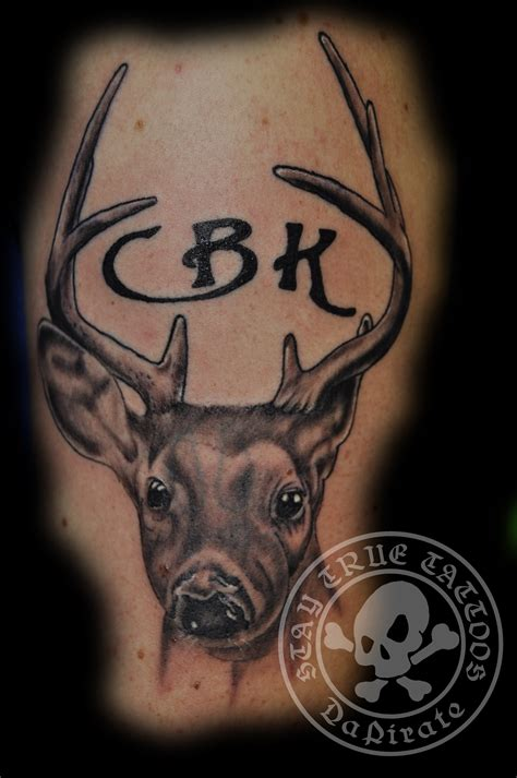 black and grey deer tattoo deer cover tattoo stay true tattoos