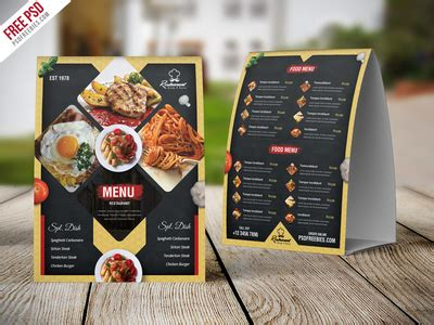 restaurant tent card template free psd restaurant menu table tent card psd template by