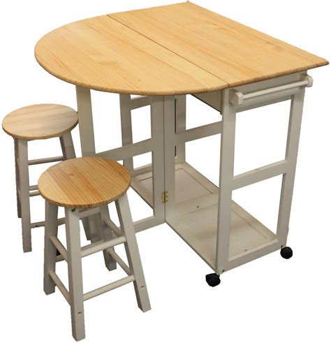 Folding Kitchen Table Set Maribelle Folding Table And Stool Set Kitchen Breakfast Bar White Ebay