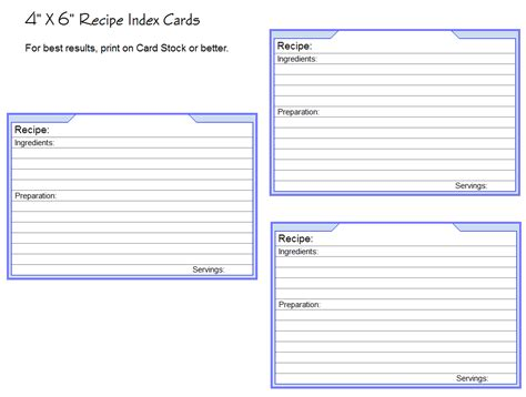 cards 4 x 6 template photo templates for recipe cards images