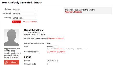 generate a random name fake name generator does fake name generator credit card numbers work