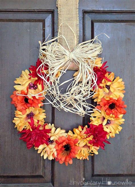 inexpensive  easy  fall wreath turned   cute