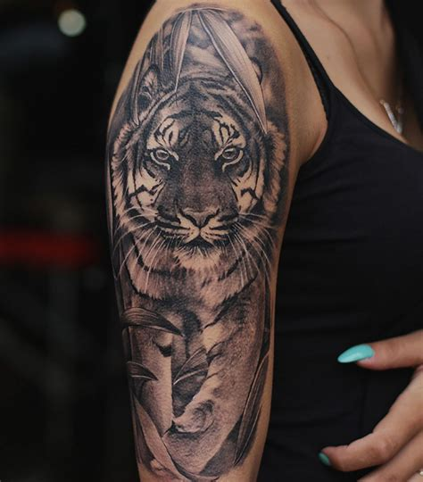 tiger sleeve tattoo designs 100 best tiger tattoos designs ideas with meanings