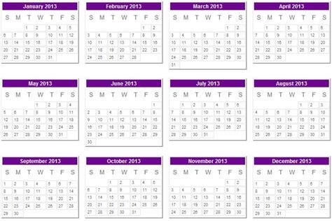 2013 printable calendar year view 2013 calendar