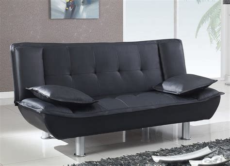 Black Bi Cast Contemporary Convertible Sofa Bed With Metal