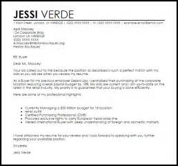Cover Letter For Fashion Buyer by Buyer Cover Letter Sle Livecareer