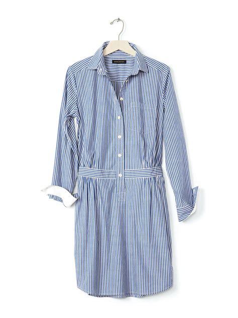 striped cotton banana republic striped cotton shirtdress in blue blue